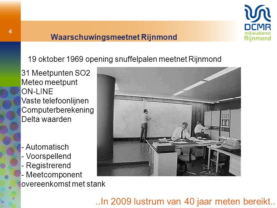 4 Waarschuwingsmeetnet Rijnmond 19 oktober 1969 opening snuffelpalen meetnet Rijnmond 31Meetpunten SO2 Meteo meetpunt ON-LINE Vaste telefoonlijnen Com