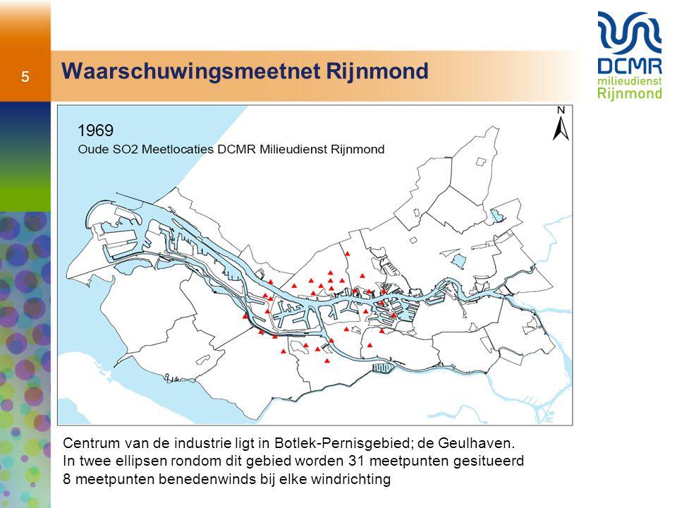 5 Waarschuwingsmeetnet Rijnmond Centrum van de industrie ligt in Botlek-Pernisgebied; de Geulhaven. In twee ellipsen rondom dit gebied worden 31 meetp