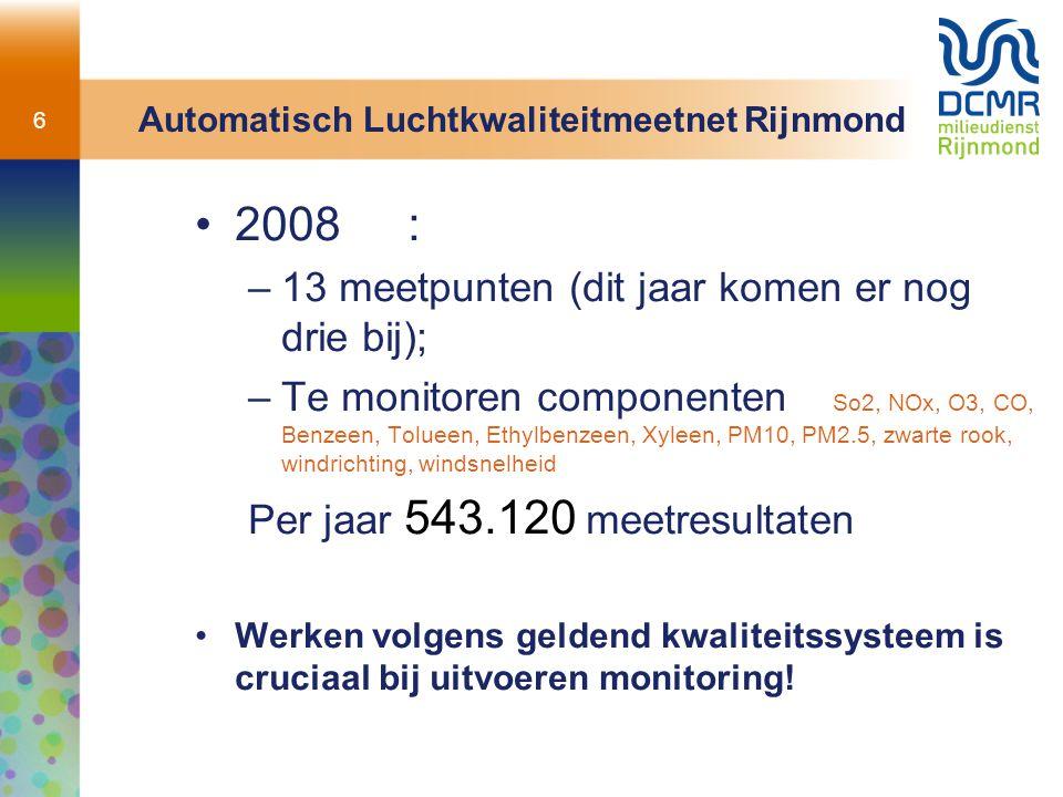 6 Automatisch Luchtkwaliteitmeetnet Rijnmond 2008: –13 meetpunten (dit jaar komen er nog drie bij); –Te monitoren componenten So2, NOx, O3, CO, Benzee