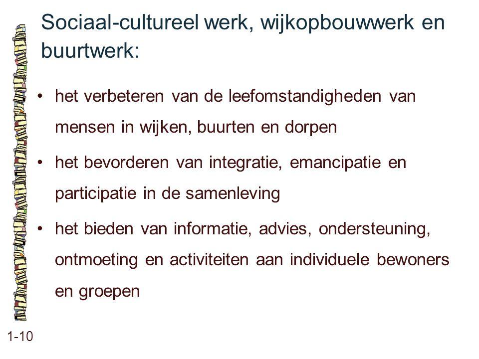 Sociaal-cultureel werk, wijkopbouwwerk en buurtwerk: 1-10 het verbeteren van de leefomstandigheden van mensen in wijken, buurten en dorpen het bevorde