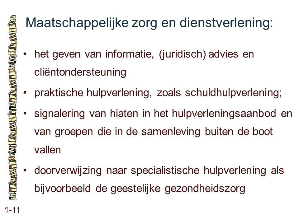 Maatschappelijke zorg en dienstverlening: 1-11 het geven van informatie, (juridisch) advies en cliëntondersteuning praktische hulpverlening, zoals sch