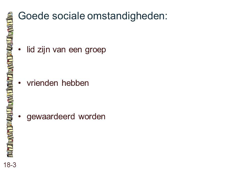 Goede sociale omstandigheden: 18-3 lid zijn van een groep vrienden hebben gewaardeerd worden