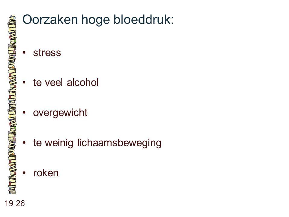 Oorzaken hoge bloeddruk: 19-26 stress te veel alcohol overgewicht te weinig lichaamsbeweging roken