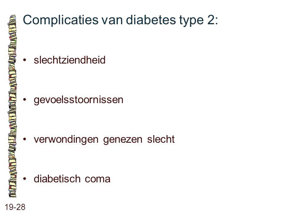 Complicaties van diabetes type 2: 19-28 slechtziendheid gevoelsstoornissen verwondingen genezen slecht diabetisch coma