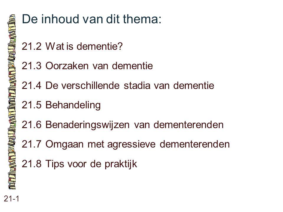 De inhoud van dit thema: 21-1 21.2 Wat is dementie? 21.3Oorzaken van dementie 21.4De verschillende stadia van dementie 21.5Behandeling 21.6Benaderings