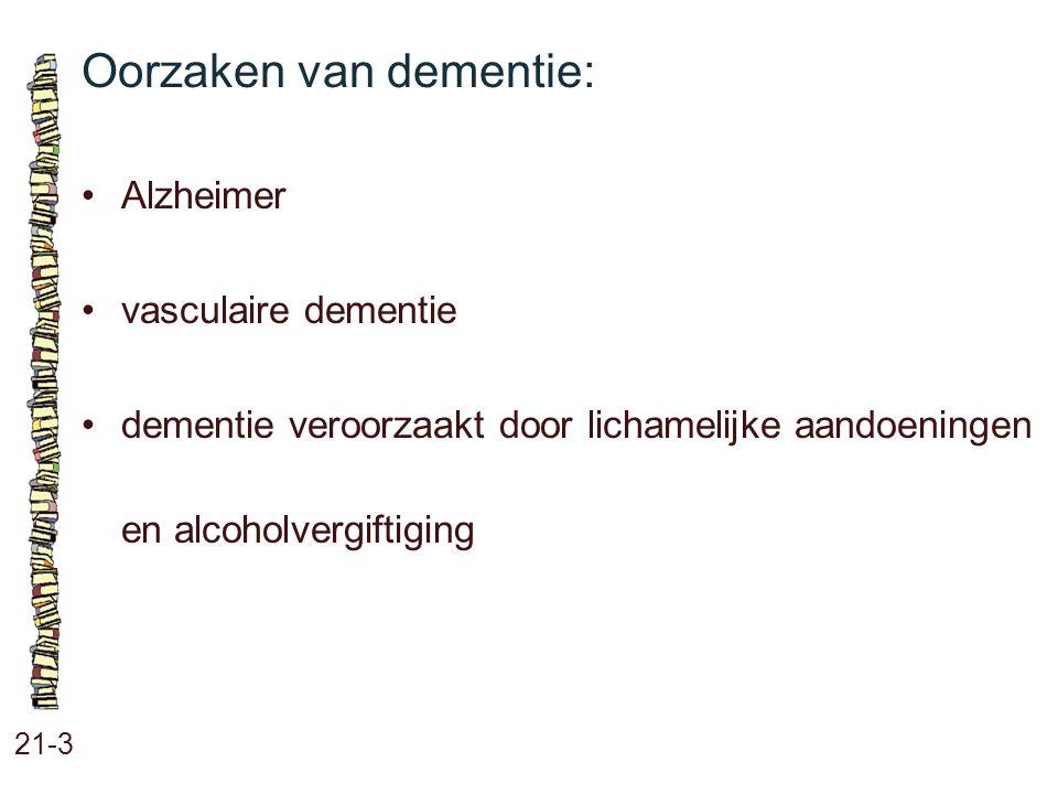 Oorzaken van dementie: 21-3 Alzheimer vasculaire dementie dementie veroorzaakt door lichamelijke aandoeningen en alcoholvergiftiging