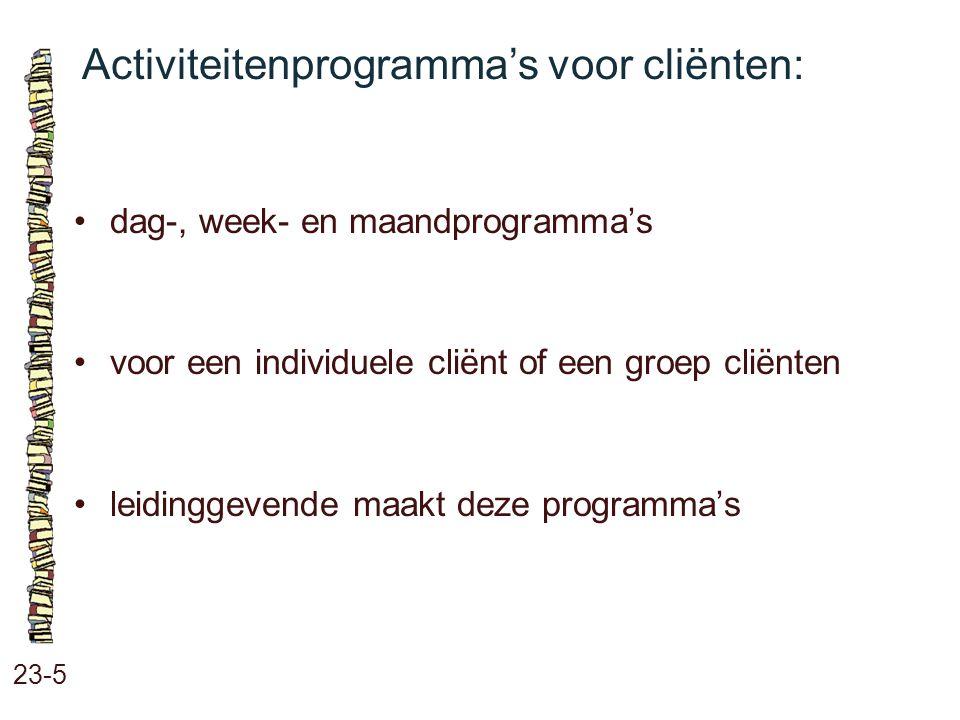Activiteitenprogramma's voor cliënten: 23-5 dag-, week- en maandprogramma's voor een individuele cliënt of een groep cliënten leidinggevende maakt dez
