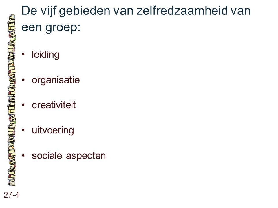 De vijf gebieden van zelfredzaamheid van een groep: 27-4 leiding organisatie creativiteit uitvoering sociale aspecten