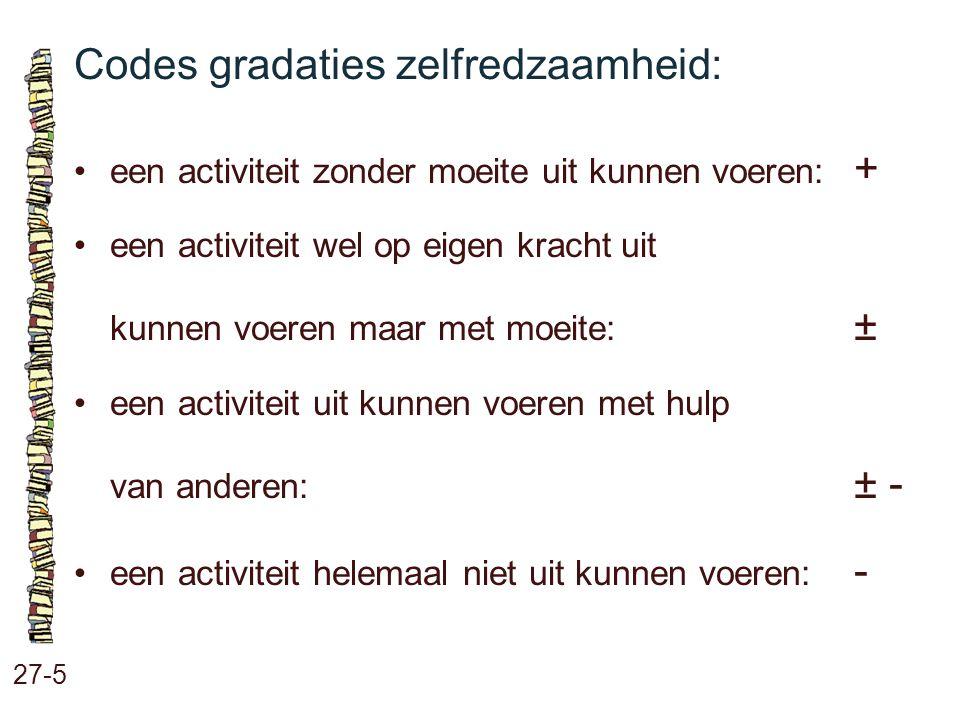 Codes gradaties zelfredzaamheid: 27-5 een activiteit zonder moeite uit kunnen voeren: + een activiteit wel op eigen kracht uit kunnen voeren maar met
