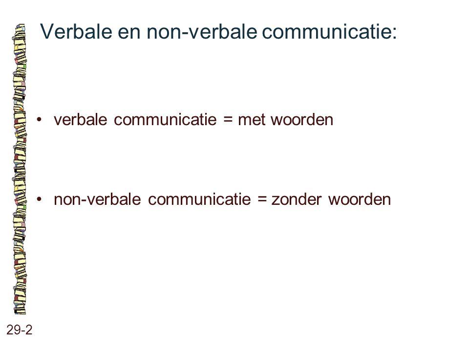 Verbale en non-verbale communicatie: 29-2 verbale communicatie = met woorden non-verbale communicatie = zonder woorden