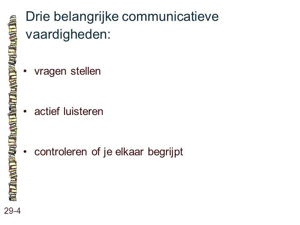 Drie belangrijke communicatieve vaardigheden: 29-4 vragen stellen actief luisteren controleren of je elkaar begrijpt