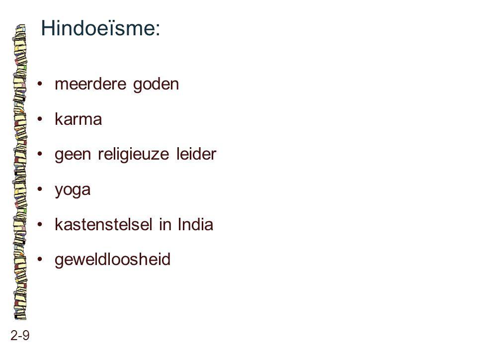 Hindoeïsme: 2-9 meerdere goden karma geen religieuze leider yoga kastenstelsel in India geweldloosheid