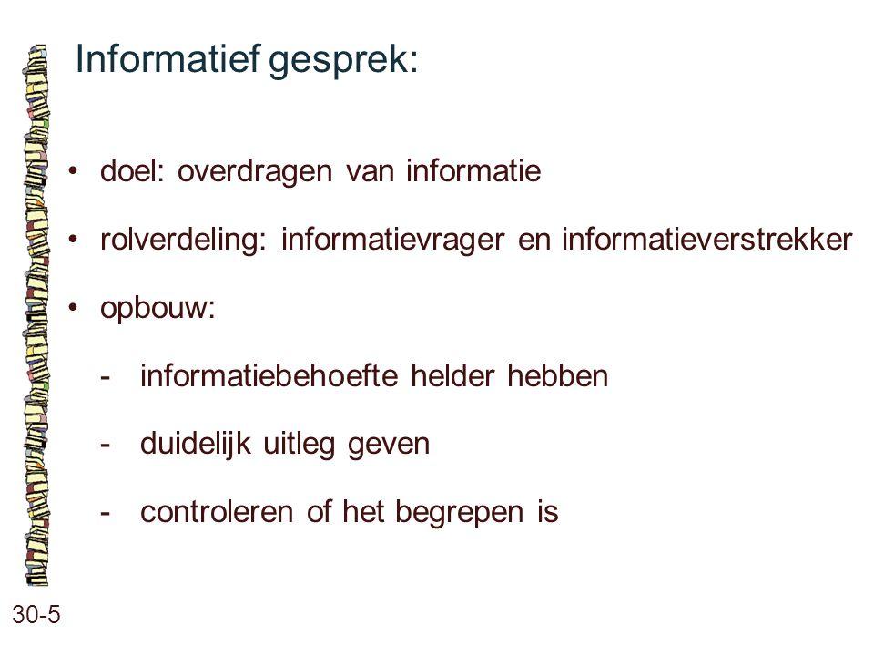 Informatief gesprek: 30-5 doel: overdragen van informatie rolverdeling: informatievrager en informatieverstrekker opbouw: -informatiebehoefte helder h