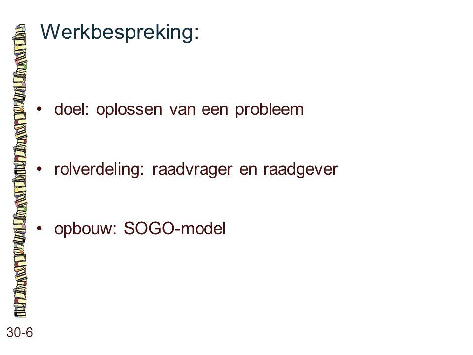 Werkbespreking: 30-6 doel: oplossen van een probleem rolverdeling: raadvrager en raadgever opbouw: SOGO-model
