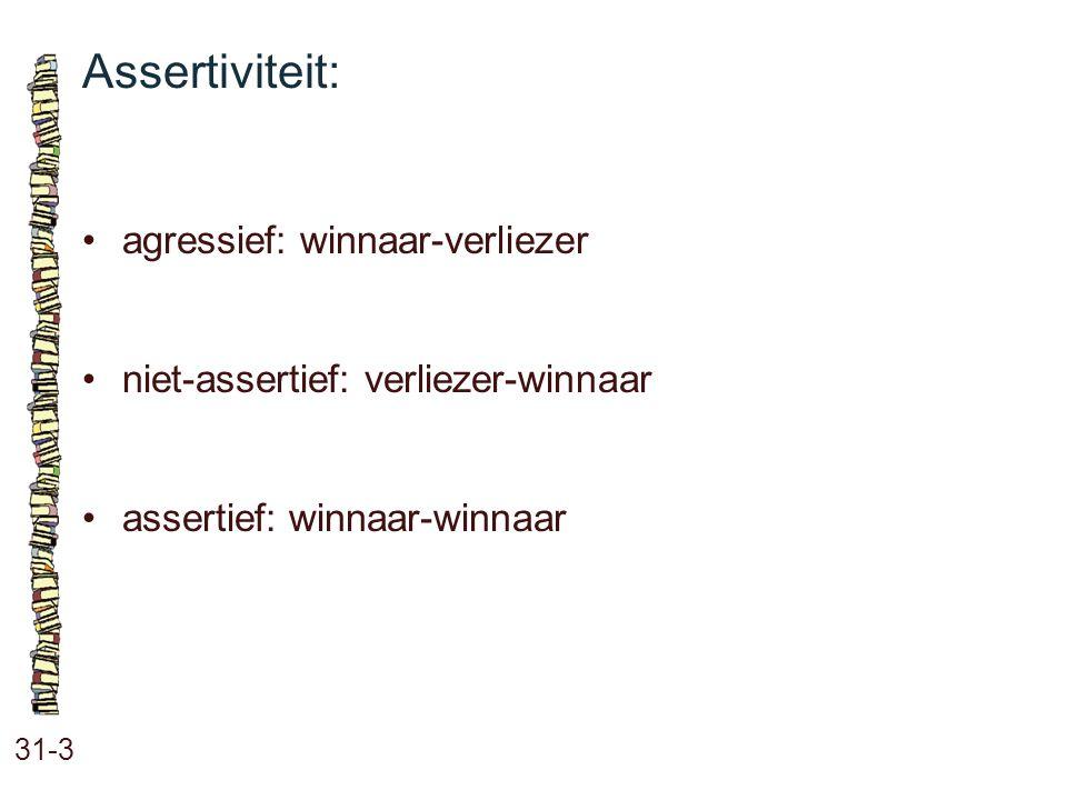 Assertiviteit: 31-3 agressief: winnaar-verliezer niet-assertief: verliezer-winnaar assertief: winnaar-winnaar