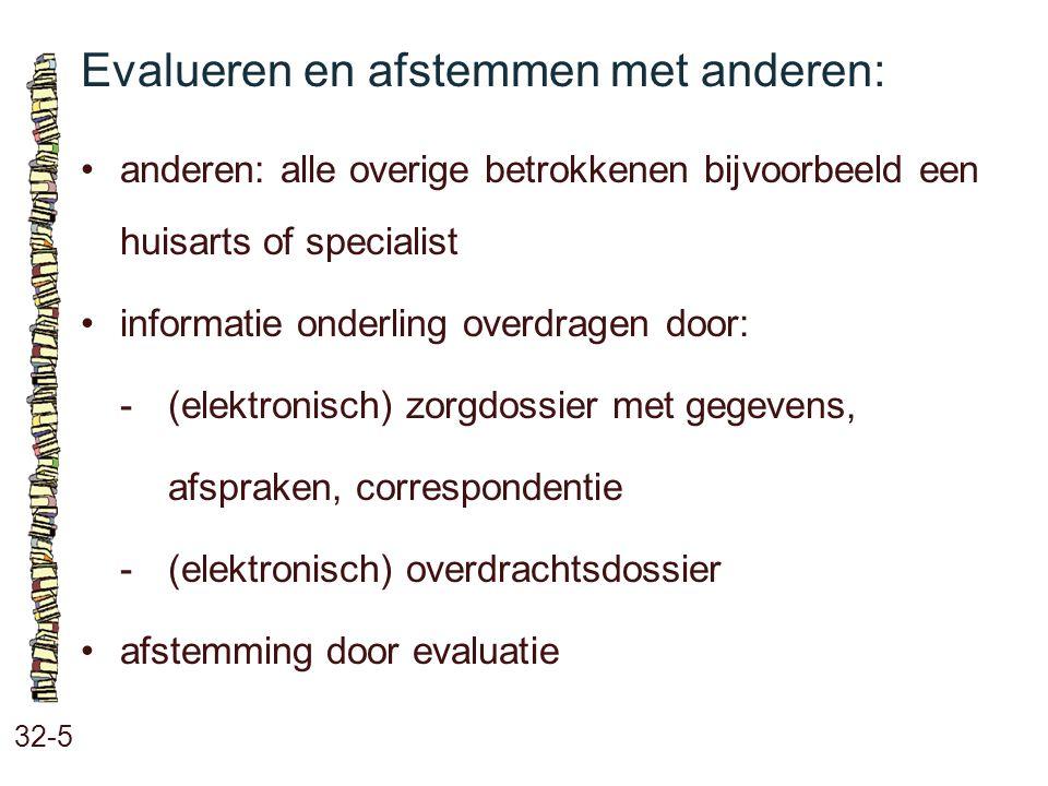 Evalueren en afstemmen met anderen: 32-5 anderen: alle overige betrokkenen bijvoorbeeld een huisarts of specialist informatie onderling overdragen doo