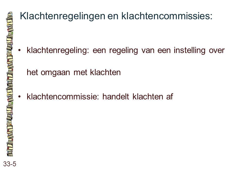 Klachtenregelingen en klachtencommissies: 33-5 klachtenregeling: een regeling van een instelling over het omgaan met klachten klachtencommissie: hande