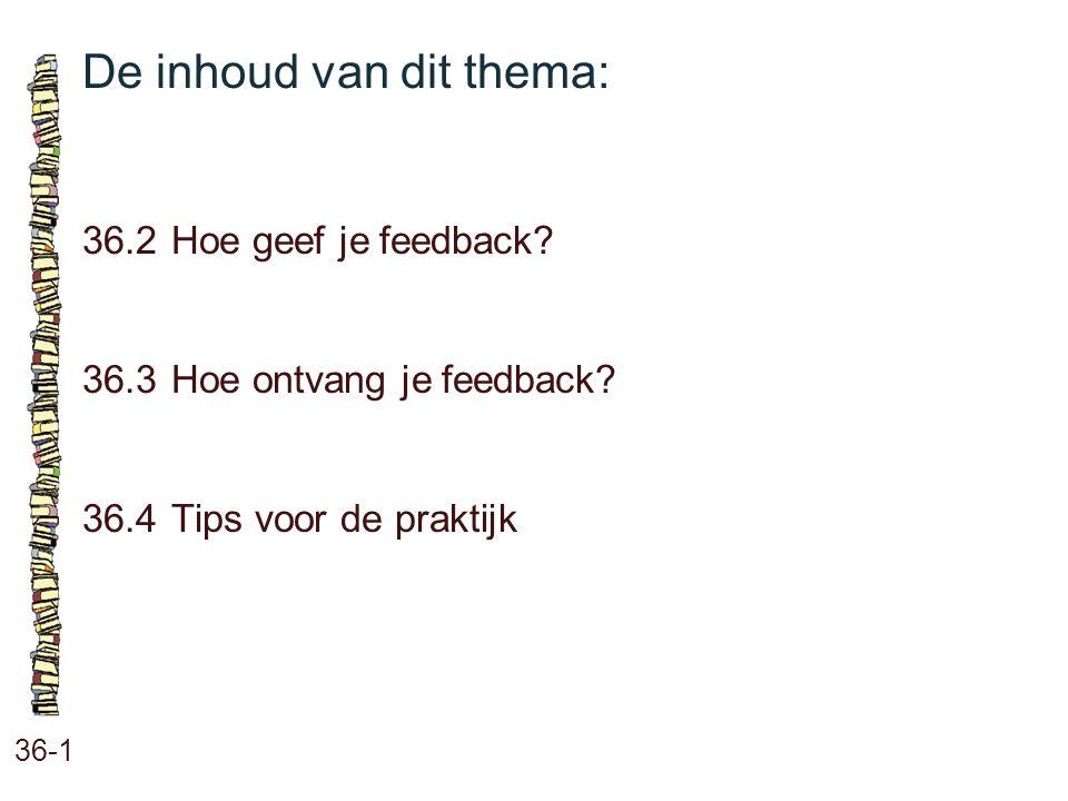 De inhoud van dit thema: 36-1 36.2Hoe geef je feedback? 36.3 Hoe ontvang je feedback? 36.4 Tips voor de praktijk