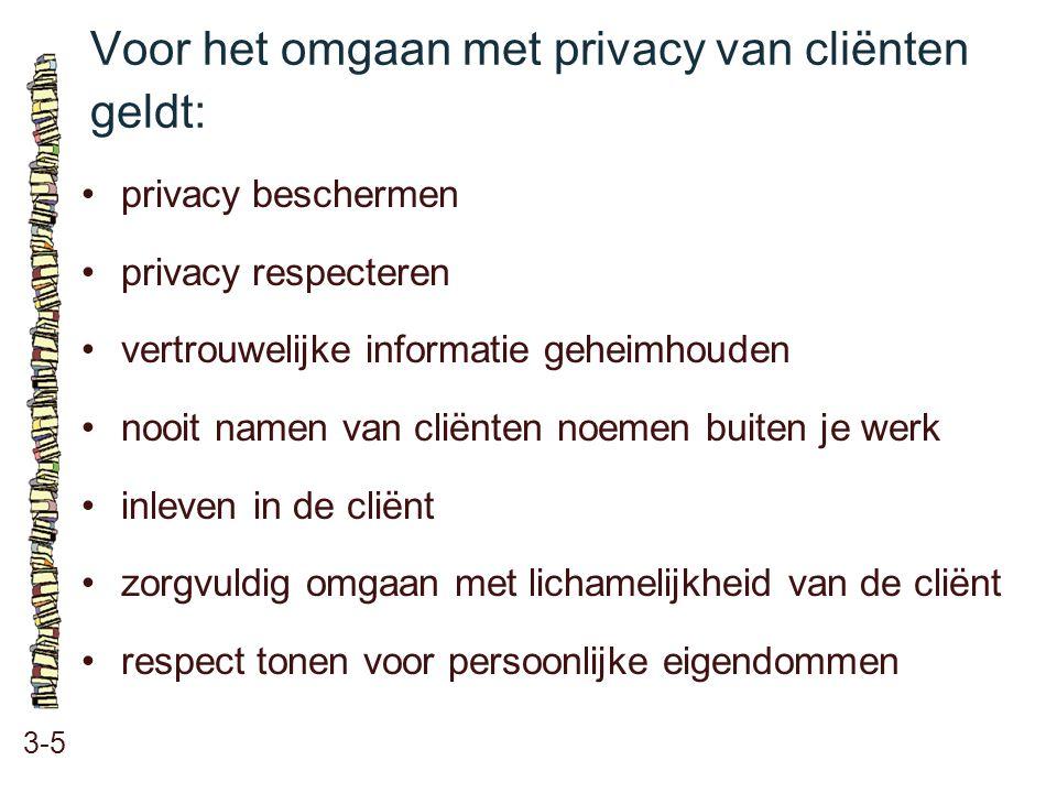 Voor het omgaan met privacy van cliënten geldt: 3-5 privacy beschermen privacy respecteren vertrouwelijke informatie geheimhouden nooit namen van clië