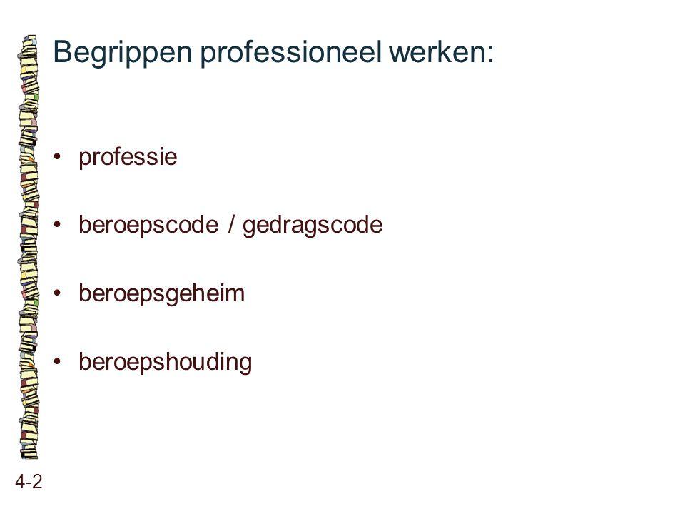 Begrippen professioneel werken: 4-2 professie beroepscode / gedragscode beroepsgeheim beroepshouding