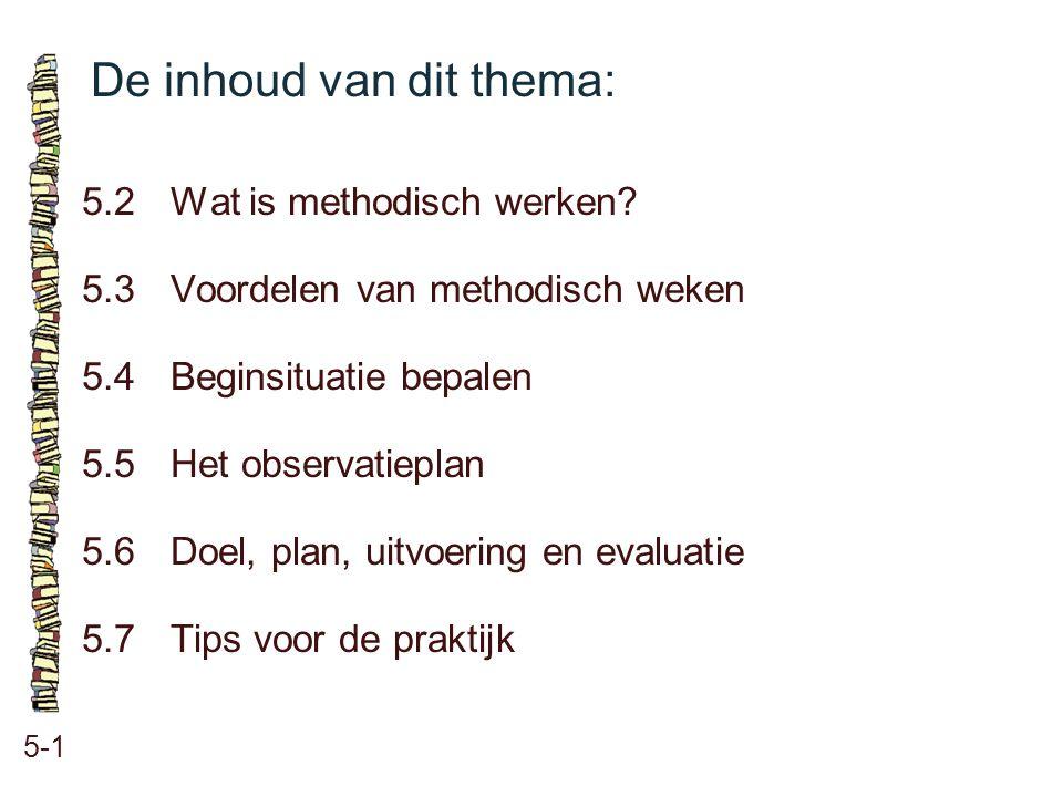 De inhoud van dit thema: 5-1 5.2 Wat is methodisch werken? 5.3 Voordelen van methodisch weken 5.4 Beginsituatie bepalen 5.5 Het observatieplan 5.6 Doe