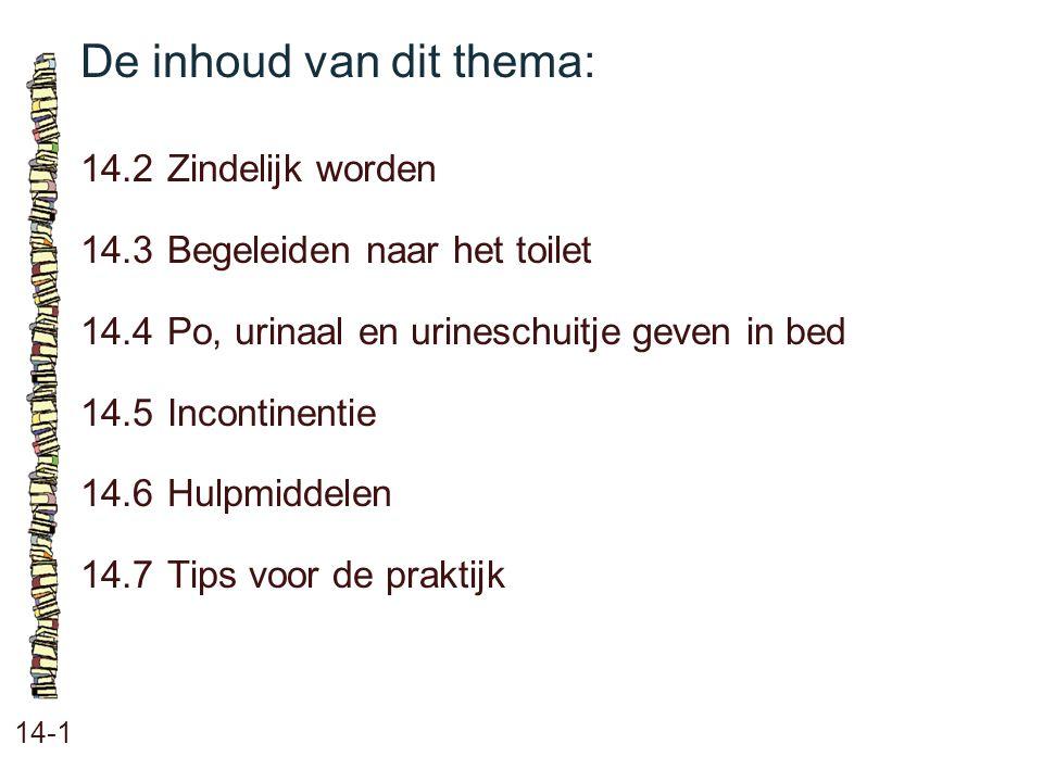 De inhoud van dit thema: 14-1 14.2Zindelijk worden 14.3 Begeleiden naar het toilet 14.4 Po, urinaal en urineschuitje geven in bed 14.5 Incontinentie 1