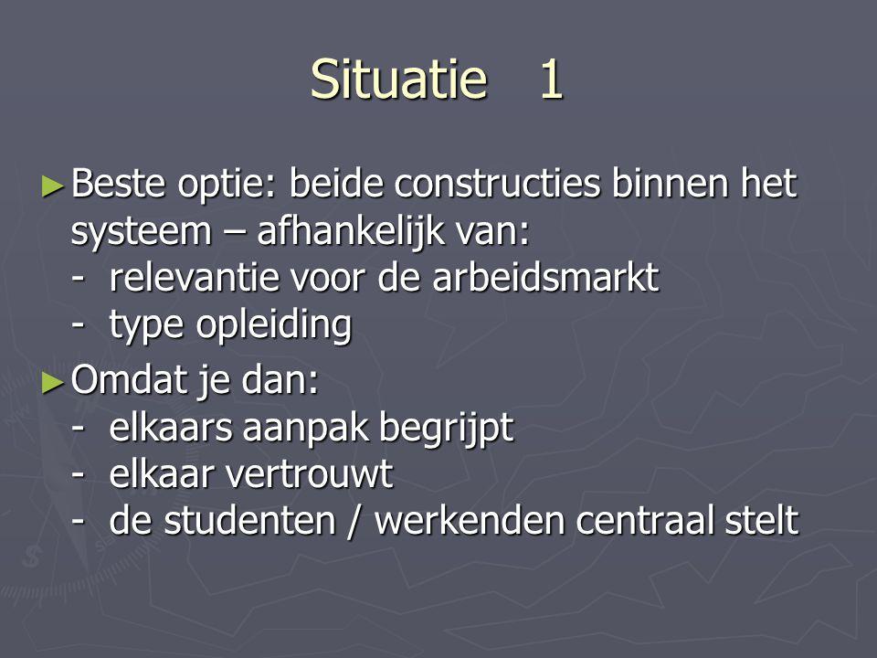 Situatie 1 ► Beste optie: beide constructies binnen het systeem – afhankelijk van: - relevantie voor de arbeidsmarkt - type opleiding ► Omdat je dan: - elkaars aanpak begrijpt - elkaar vertrouwt - de studenten / werkenden centraal stelt