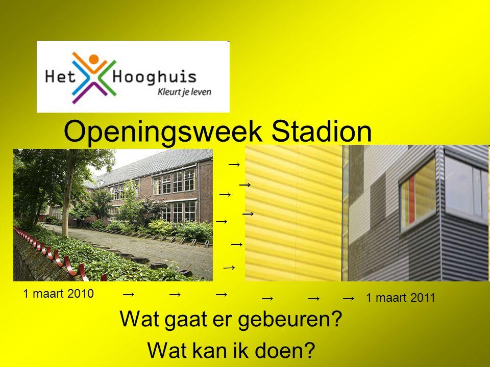Openingsweek Stadion Wat gaat er gebeuren.Wat kan ik doen.