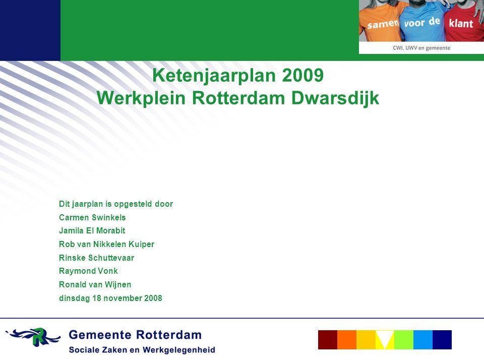 Ketenjaarplan 2009 Werkplein Rotterdam Dwarsdijk Dit jaarplan is opgesteld door Carmen Swinkels Jamila El Morabit Rob van Nikkelen Kuiper Rinske Schuttevaar Raymond Vonk Ronald van Wijnen dinsdag 18 november 2008