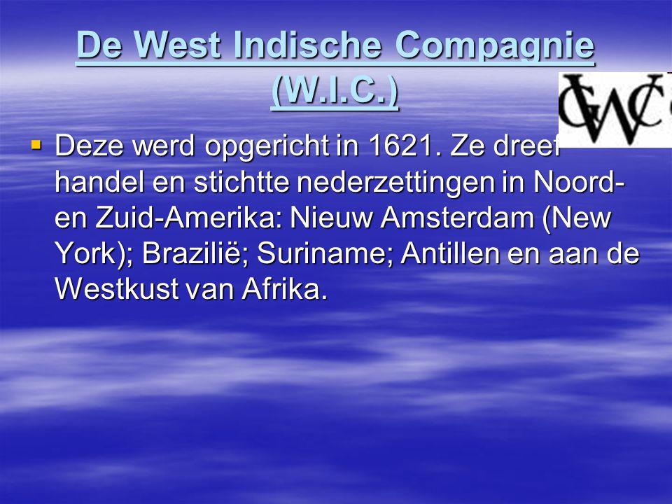De West Indische Compagnie (W.I.C.)  Deze werd opgericht in 1621.