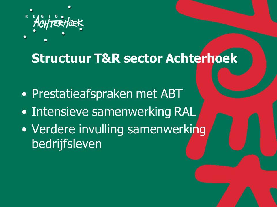 Structuur T&R sector Achterhoek Prestatieafspraken met ABT Intensieve samenwerking RAL Verdere invulling samenwerking bedrijfsleven