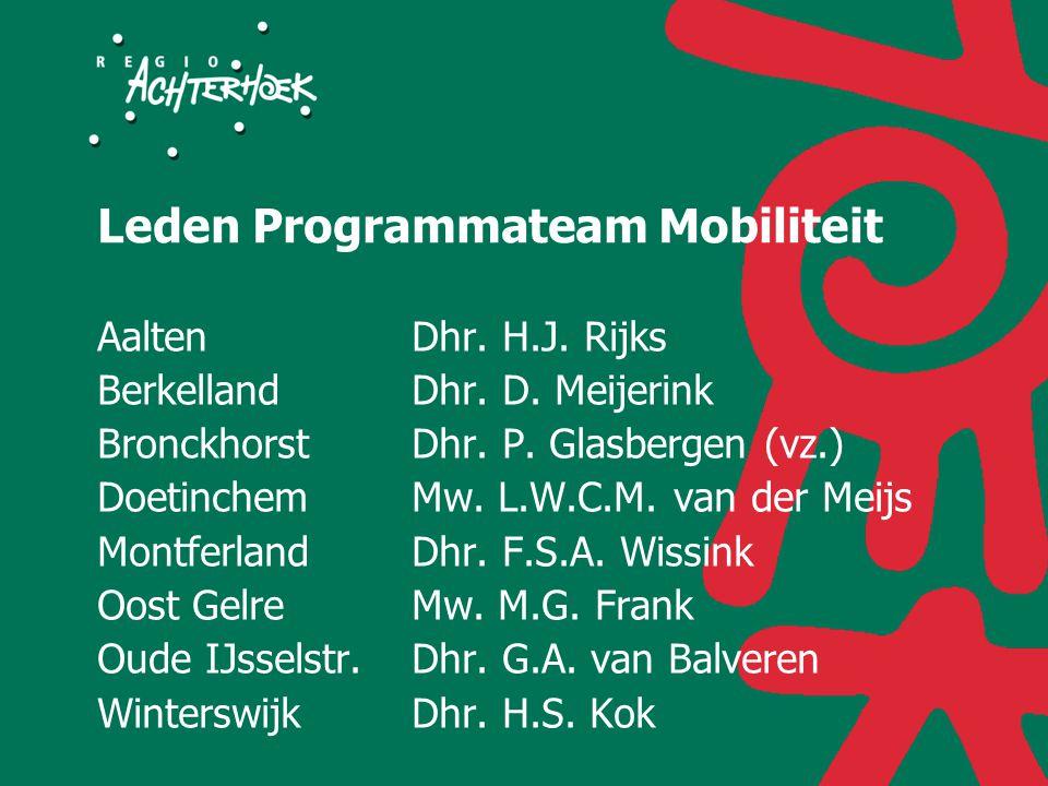 Leden Programmateam Mobiliteit AaltenDhr. H.J. Rijks BerkellandDhr.
