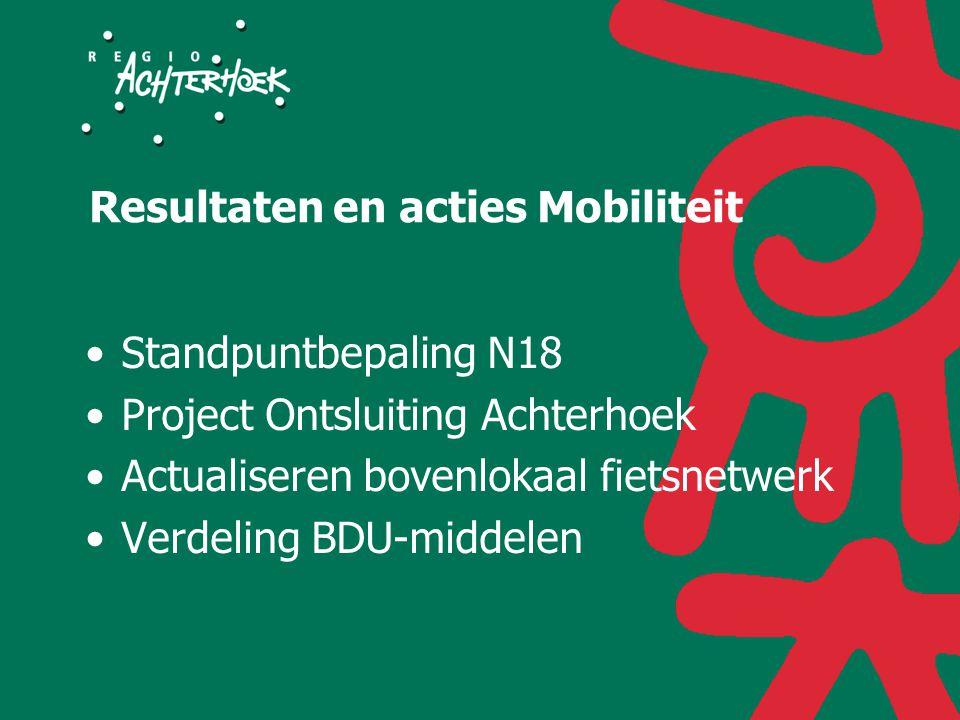 Resultaten en acties Mobiliteit Standpuntbepaling N18 Project Ontsluiting Achterhoek Actualiseren bovenlokaal fietsnetwerk Verdeling BDU-middelen