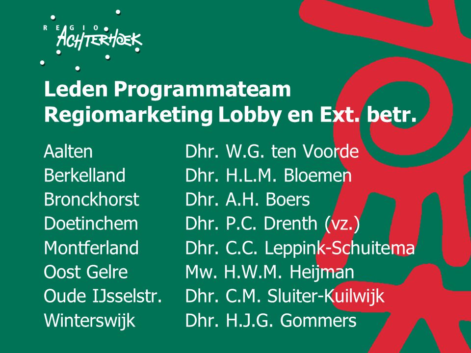 Leden Programmateam Regiomarketing Lobby en Ext. betr.