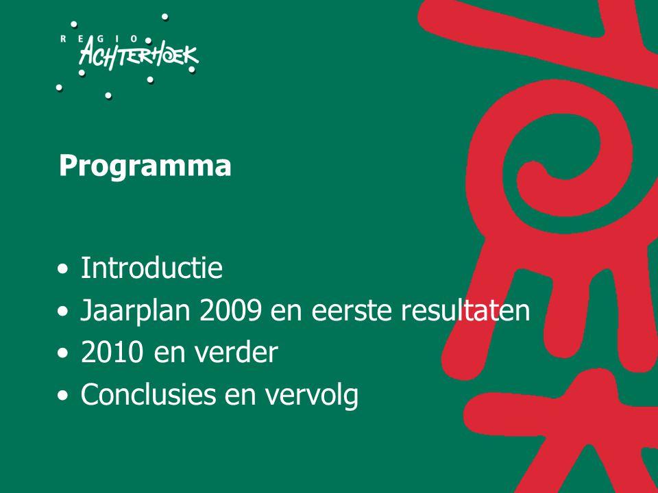 Programma Introductie Jaarplan 2009 en eerste resultaten 2010 en verder Conclusies en vervolg