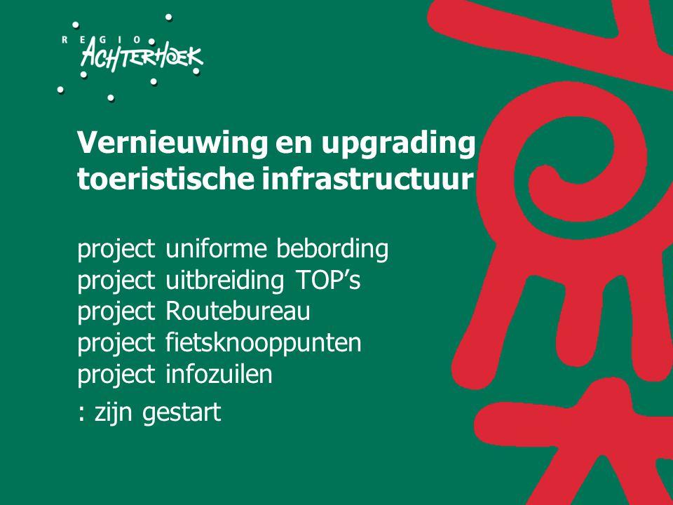 Vernieuwing en upgrading toeristische infrastructuur project uniforme bebording project uitbreiding TOP's project Routebureau project fietsknooppunten project infozuilen : zijn gestart