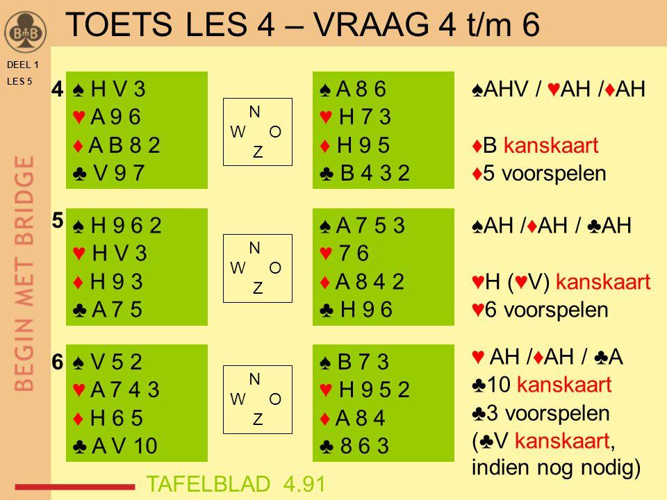 DEEL 1 LES 5 ♠ H V 3 ♥ A 9 6 ♦ A B 8 2 ♣ V 9 7 ♠ H 9 6 2 ♥ H V 3 ♦ H 9 3 ♣ A 7 5 ♠ V 5 2 ♥ A 7 4 3 ♦ H 6 5 ♣ A V 10 ♠ A 8 6 ♥ H 7 3 ♦ H 9 5 ♣ B 4 3 2