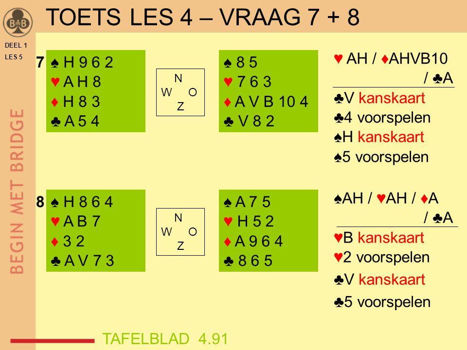 DEEL 1 LES 5 ♠ H 9 6 2 ♥ A H 8 ♦ H 8 3 ♣ A 5 4 ♠ H 8 6 4 ♥ A B 7 ♦ 3 2 ♣ A V 7 3 ♠ 8 5 ♥ 7 6 3 ♦ A V B 10 4 ♣ V 8 2 ♠ A 7 5 ♥ H 5 2 ♦ A 9 6 4 ♣ 8 6 5