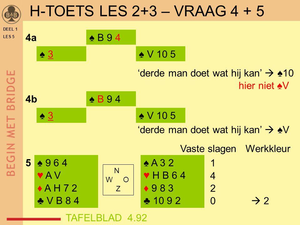 DEEL 1 LES 5 ♠ 3♠ 3 4a 4b ♠ B 9 4 ♠ V 10 5 'derde man doet wat hij kan'  ♠10 hier niet ♠V ♠ 3 ♠ B 9 4 ♠ V 10 5 'derde man doet wat hij kan'  ♠V ♠ 9