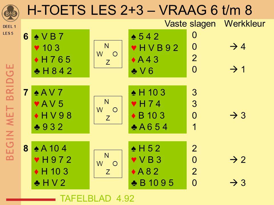 DEEL 1 LES 5 ♠ V B 7 ♥ 10 3 ♦ H 7 6 5 ♣ H 8 4 2 ♠ A V 7 ♥ A V 5 ♦ H V 9 8 ♣ 9 3 2 ♠ A 10 4 ♥ H 9 7 2 ♦ H 10 3 ♣ H V 2 ♠ 5 4 2 ♥ H V B 9 2 ♦ A 4 3 ♣ V