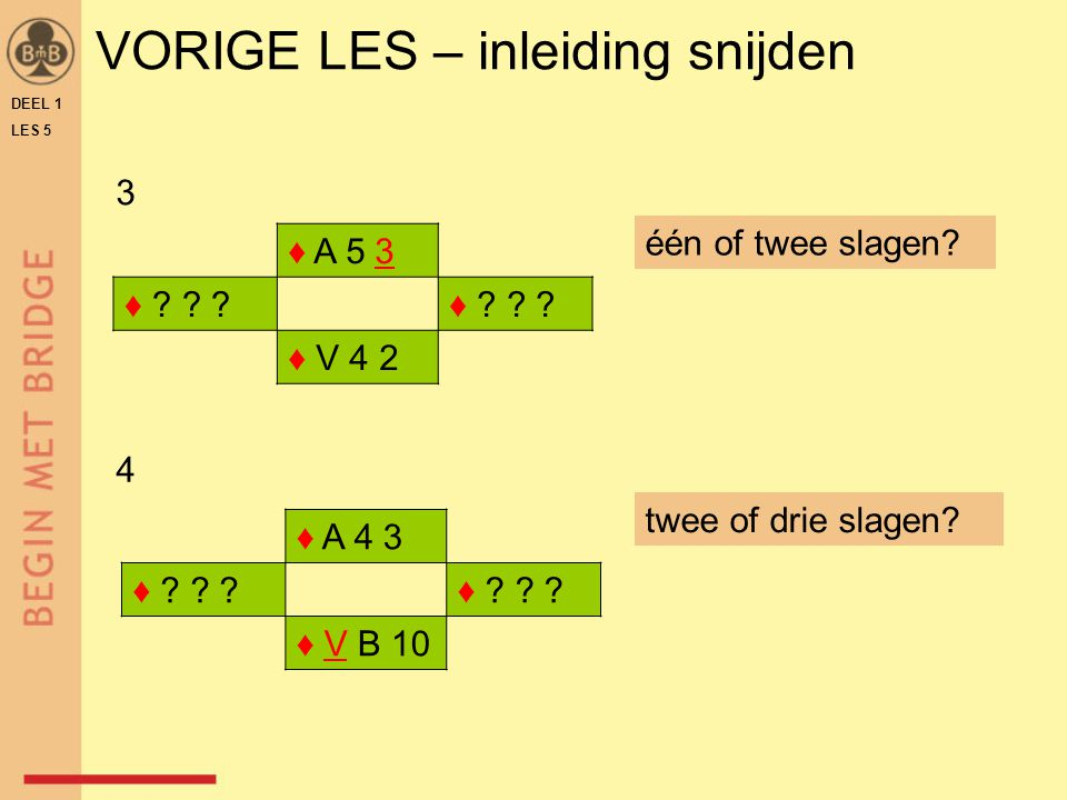 DEEL 1 LES 5 ♠ 7 6 ♥ V B 10 9 ♦ A 8 4 3 2 ♣ V 7 ♠ 10 9 8 ♥ 8 7 6 ♦ 10 9 ♣ H B 10 9 8 N W O Z ♠ A H 3 2 ♥ A H 2 ♦ H V B ♣ A 3 2 ♠ V B 5 4 ♥ 5 4 3 ♦ 7 6 5 ♣ 6 5 4 contract ♠ leider is Z slag 1 ♥A Z hoe verder .