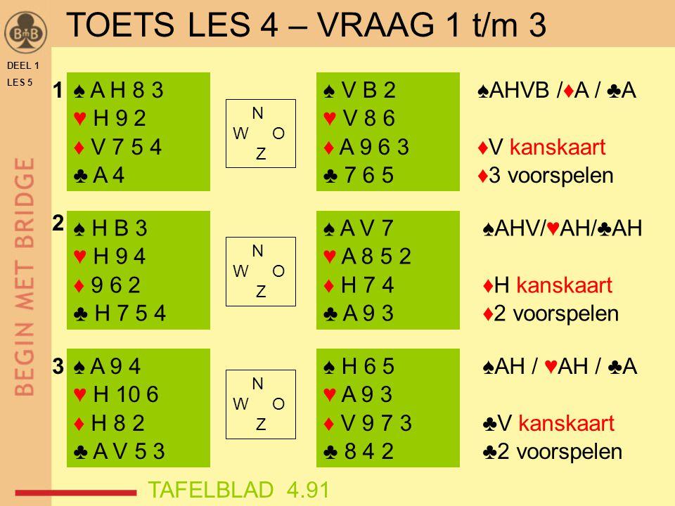 DEEL 1 LES 5 ♠ H V 3 ♥ A 9 6 ♦ A B 8 2 ♣ V 9 7 ♠ H 9 6 2 ♥ H V 3 ♦ H 9 3 ♣ A 7 5 ♠ V 5 2 ♥ A 7 4 3 ♦ H 6 5 ♣ A V 10 ♠ A 8 6 ♥ H 7 3 ♦ H 9 5 ♣ B 4 3 2 ♠ A 7 5 3 ♥ 7 6 ♦ A 8 4 2 ♣ H 9 6 ♠ B 7 3 ♥ H 9 5 2 ♦ A 8 4 ♣ 8 6 3 N W O Z N W O Z N W O Z 5 4 6 ♥ AH /♦AH / ♣A ♣10 kanskaart ♣3 voorspelen (♣V kanskaart, indien nog nodig) ♠AHV / ♥AH /♦AH ♦B kanskaart ♦5 voorspelen ♠AH /♦AH / ♣AH ♥H (♥V) kanskaart ♥6 voorspelen TAFELBLAD 4.91 TOETS LES 4 – VRAAG 4 t/m 6
