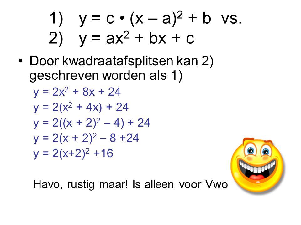 Door kwadraatafsplitsen kan 2) geschreven worden als 1) y = 2x 2 + 8x + 24 y = 2(x 2 + 4x) + 24 y = 2((x + 2) 2 – 4) + 24 y = 2(x + 2) 2 – 8 +24 y = 2