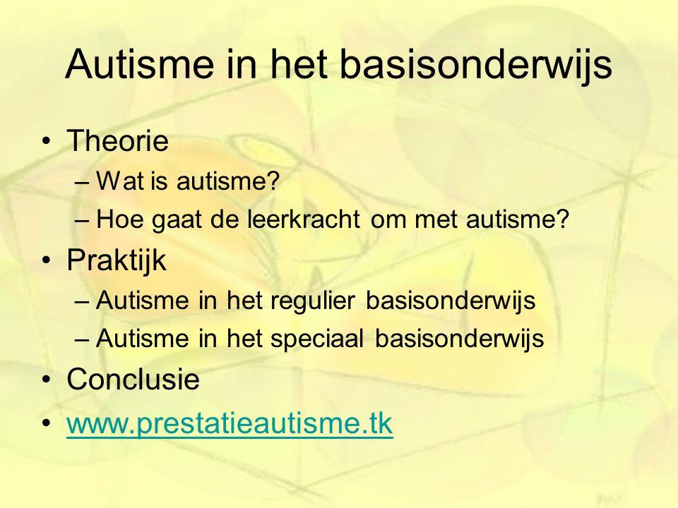 Autisme in het basisonderwijs Theorie –Wat is autisme? –Hoe gaat de leerkracht om met autisme? Praktijk –Autisme in het regulier basisonderwijs –Autis
