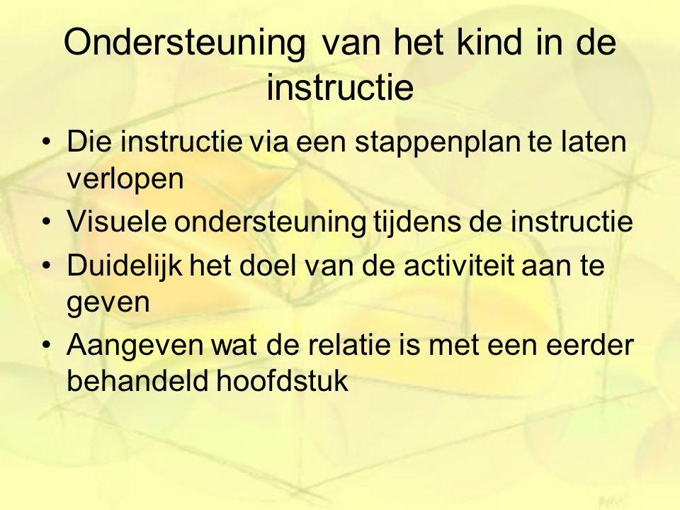 Ondersteuning van het kind in de instructie Die instructie via een stappenplan te laten verlopen Visuele ondersteuning tijdens de instructie Duidelijk