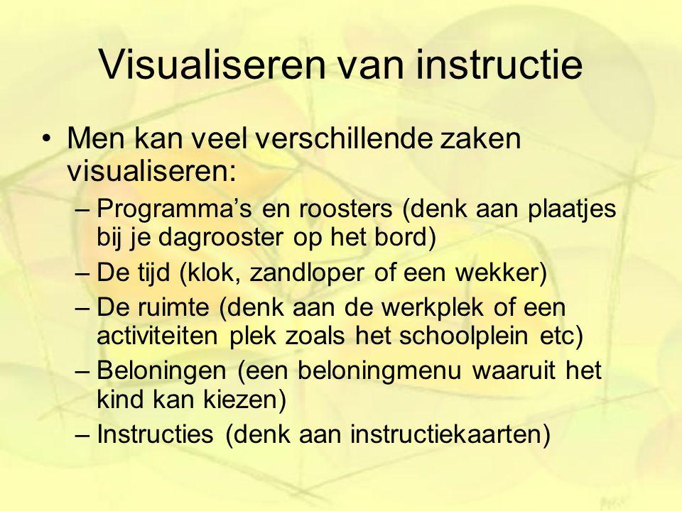 Visualiseren van instructie Men kan veel verschillende zaken visualiseren: –Programma's en roosters (denk aan plaatjes bij je dagrooster op het bord)