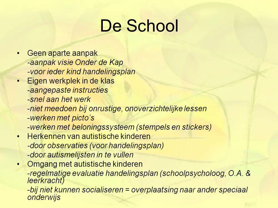 De School Geen aparte aanpak -aanpak visie Onder de Kap -voor ieder kind handelingsplan Eigen werkplek in de klas -aangepaste instructies -snel aan he