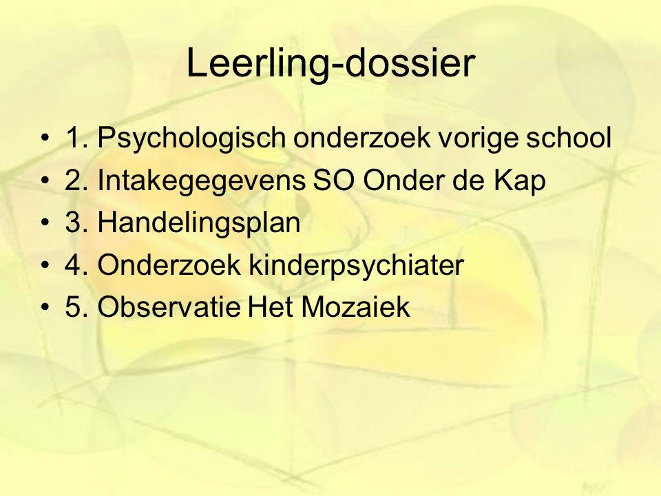 Leerling-dossier 1.Psychologisch onderzoek vorige school 2.