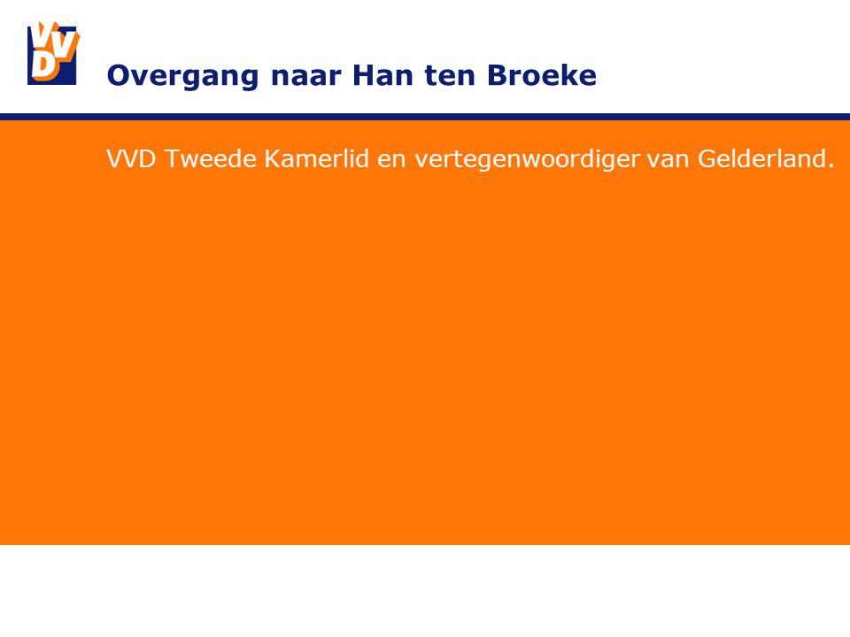 Overgang naar Han ten Broeke VVD Tweede Kamerlid en vertegenwoordiger van Gelderland.