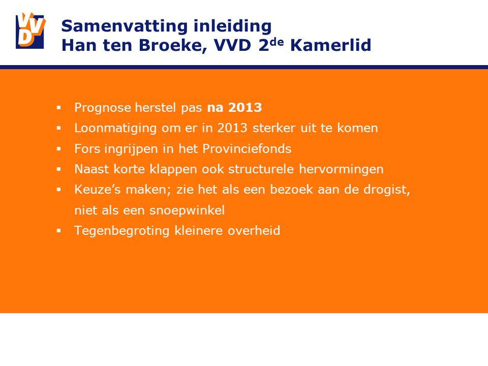 Samenvatting inleiding Han ten Broeke, VVD 2 de Kamerlid  Prognose herstel pas na 2013  Loonmatiging om er in 2013 sterker uit te komen  Fors ingrijpen in het Provinciefonds  Naast korte klappen ook structurele hervormingen  Keuze's maken; zie het als een bezoek aan de drogist, niet als een snoepwinkel  Tegenbegroting kleinere overheid